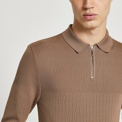 Mens Brown long sleeve muscle kitted polo shirt