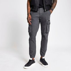 Mens Charcoal cargo trousers