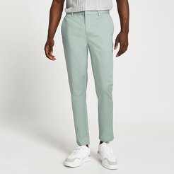 Mens Green skinny fit chino trousers