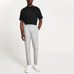 Mens Grey check skinny fit trousers