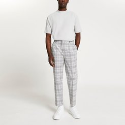 Mens Grey pleated check trousers