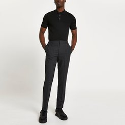 Mens Grey textured check print trousers