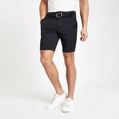 Mens Navy belted slim fit chino shorts