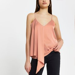 Pink sleeveless asymmetric cami top