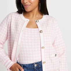 Plus pink houndstooth cardigan