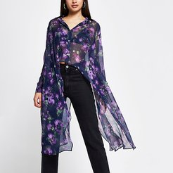 Purple floral print frill asymmetric shirt