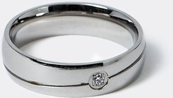 Mens Silver steel band ring