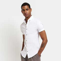 Mens White muscle fit short sleeve shirt
