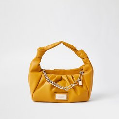 Yellow double knot ruched handbag