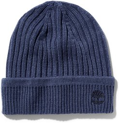 Ribbed Knit Beanie For Men In Navy Navy, Size ONE
