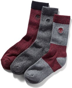 Three Pair Boot Sock Gift Pack For Men In Red/grey Red/grey, Size L