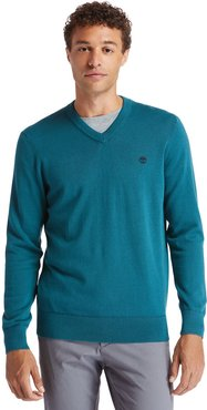 Williams River V-neck Sweater For Men In Green Green, Size 3XL