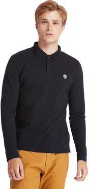 Millers River Ls Polo Shirt For Men In Black Black, Size 3XL