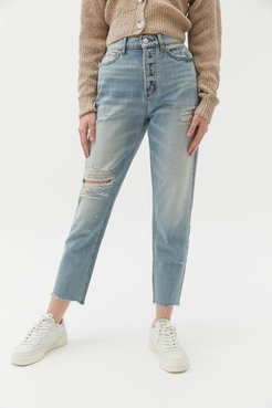 High-Waisted Slim Straight Jean - Distressed Light Wash