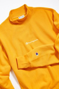 Champion UO Exclusive Script Logo Mock Neck Sweatshirt - Gold S at Urban Outfitters