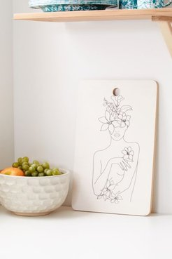 Nadja For Deny Line Art Woman With Flowers IV Cutting Board