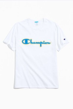 Champion Script Patch Tee - White S at Urban Outfitters