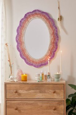 Capiz Scalloped Mirror - Purple at Urban Outfitters