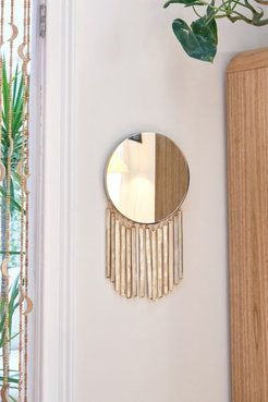 Isabel Capiz Fringe Wall Mirror - Beige at Urban Outfitters