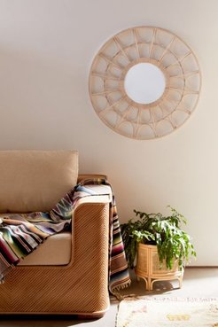 Flora Rattan Scallop Wall Mirror - Beige at Urban Outfitters