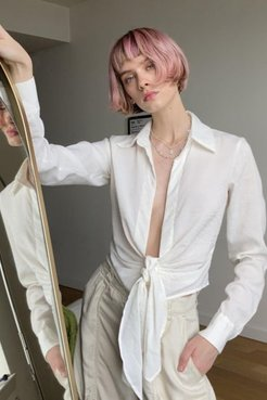 Monroe Plunging Tie-Front Blouse