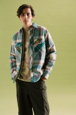 UO Plaid Seersucker Shirt Jacket