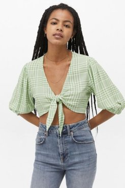 UO Tilly Gingham Tie-Front Blouse