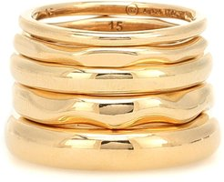 18kt gold-plated set of five rings