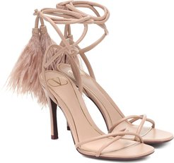 Upflair 100 feather-trimmed leather sandals