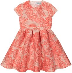 Pleated floral jacquard dress