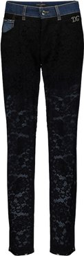 Lace-paneled high-rise slim jeans