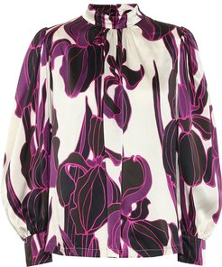 Floral silk satin blouse