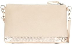 Canvas and sequins clutch bag