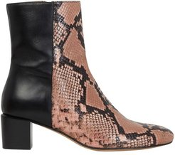Bi-material ankle boots