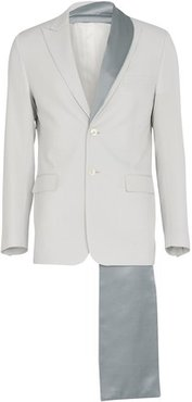 Greige wool twill jacket with detachable detail