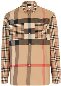 Patchwork Check Stretch Cotton Oversized Shirt