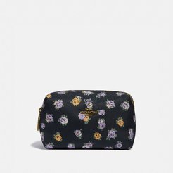 Small Boxy Cosmetic Case With Vintage Rose Print - Women's