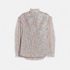 Printed Long Sleeve Blouse With Ruffles - Women's