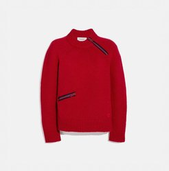 Fitted Crewneck Sweater With Zips - Women's