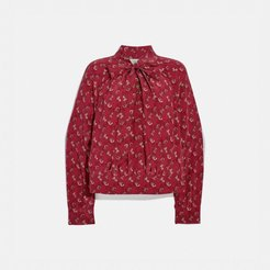 Horse And Carriage Print Tie Neck Blouse - Women's