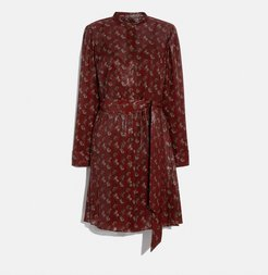 Lunar New Year Horse And Carriage Print Pleated Shirt Dress - Women's