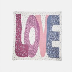 Love Patchwork Print Oversized Square Scarf - Women's