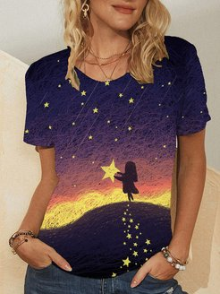 T-shirt casual taglie forti Plus con stampa stelle