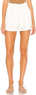 Textured Crepe Tie Waist Short in Ivory. - size 10 (also in 8)