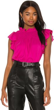 Crepe Back Matte Blouse in Pink. - size L (also in M, S, XL, XS, XXS)