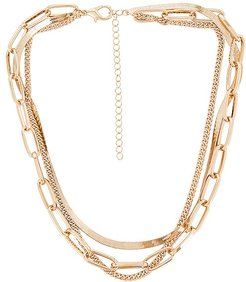 109 Layered Necklace in Metallic Gold.