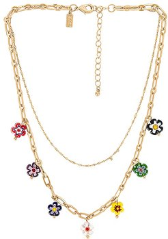 Flower Layered Necklace in Metallic Gold.