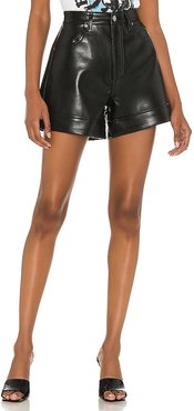 Recycled Leather Angled Hem Short in Black. - size 23 (also in 24, 25, 26, 27, 28, 29, 30, 31, 32, 33, 34)