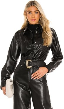 Paloma Vegan Leather Shirt in Black. - size L (also in M, S, XS)
