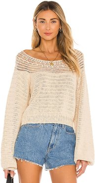 Stevie Long Sleeve Knit Sweater in Tan. - size L (also in M, S, XS)